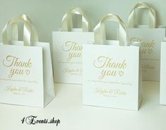 35047dc37590f 35 Wedding Welcome Bags with Ivory satin ribbon handles and Gold names  Elegant Personalized wedding