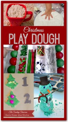 Some fun and festive ideas for play with Christmas themed play dough and foam
