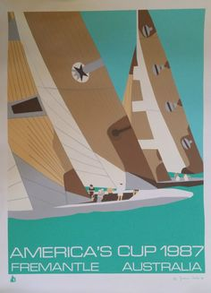 1987 Americas Cup Race turquoise label by OutofCopenhagen on Etsy