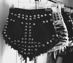 High-waisted studded shorts x