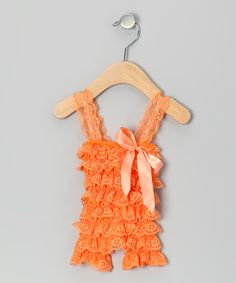 Peach Lace Ruffle Romper - Infant & Toddler