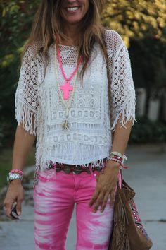 Pink tie dye & crochet. Loving this funky boho ensemble as worn by Mytenida.