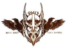 Viking Odin's Raven Tattoo Design