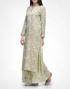 Sage Chikankari Kurta & Pyjama - ANJUL BHANDARI - Designers