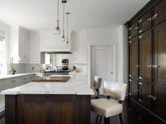 Fluted Crystal Pendants - Transitional - kitchen - Peacock Cabinetry