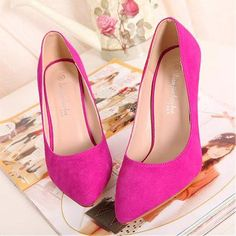 Brilliant Classic Pointy Closed Toe Stiletto High Heels Rose Suede Pumps Red High Heels, High Heels Stilettos, Pointed Toe Heels, Trendy Shoes, Suede Pumps, Pump Shoes, Me Too Shoes, Christian Louboutin, Peach