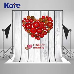 Button love Valentine's Day  holidays backdrops  for Photography J02978