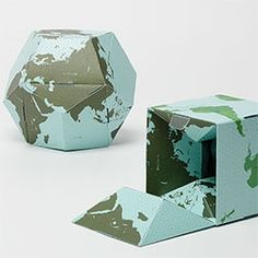 """GeoGrafia's Flippable Globe """"cube in dodeca"""" ~ this paper globe you can assemble yourself - """"The reversible globe shows both simple outline of lands on one side (dodecahedron) and complex political borders on the other side (cube)."""""""
