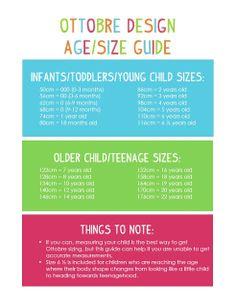 .Ottobre Design Age/Size Guide.