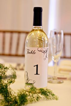 Wine bottle table numbers. And then they already have a bottle of wine.