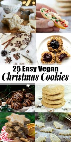 you're looking for vegan Christmas cookies this is the right place for you! All of these recipes are vegan and a lot of them are also gluten-free and low in sugar. Find more vegan Christmas recipes at ! Vegan Christmas Desserts, Healthy Christmas Cookies, Vegan Christmas Dinner, Christmas Baking, Christmas Christmas, Vegan Dessert Recipes, Cookie Recipes, Cookies Healthy, Cookies Vegan