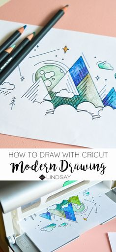 Learn how to draw using your Cricut Explore or Cricut Maker and create this modern mountain art. Paper Folding Crafts, Diy Paper, Paper Crafts, Yarn Crafts, Fun Crafts To Do, Easy Diy Crafts, Creative Crafts, Mountain Drawing, Mountain Art