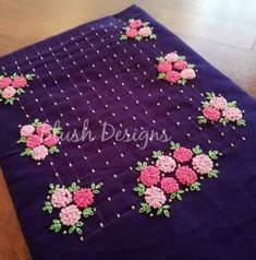 New Embroidery Designs Simple Crafts Ideas New Embroidery Designs, French Knot Embroidery, Embroidery On Kurtis, Hand Embroidery Dress, Kurti Embroidery Design, Embroidery Monogram, Embroidery Fashion, Beaded Embroidery, Embroidery Stitches