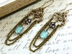 Victorian Chandelier Earrings Aqua Blue Vintage by ATwistOfWhimsy