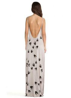 Gray Day Dress - Bqueen Swallows Printed Halter Strap