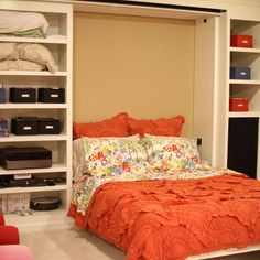 This reader's small basement doubles as a guest room and home theater with a Murphy bed that folds up to reveal a projector screen. Check it out!  2013 TOH Dont Buy It, DIY It! Contest | thisoldhouse.com/yourTOH