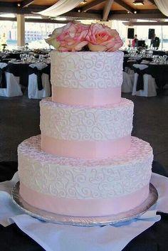 Pink weding cake