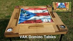 "See our patented ""FOLDABLE"" design on YouTube. Place an order for your customized Domino table on Etsy or Facebook (VAK Domino Tables). ""LIKE"" us on Facebook, follow us on Instagram and subscribe to our YouTube channel."