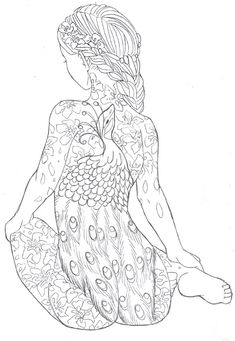 girl with the peacock tattoo by sanieadeviantartcom free deviantart coloring for adultsadult coloring pagescoloring sheetscoloring booksart - Body Art Tattoo Designs Coloring Book