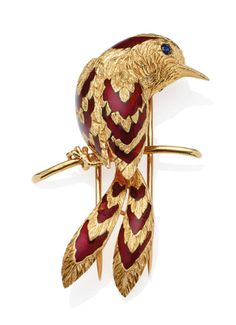 A novelty brooch, by Cartier Modelled as a bird perched and facing right, the textured body and wings with fine feather detail, enhanced by red enamel accents, to a circular-shaped sapphire eye, signed Cartier Paris, numbered 013337, maker's mark, French assay mark for gold, length 5.5cm
