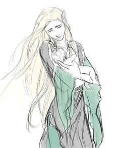 """Lady Lassiel with her baby son Thranduil. """"Ghosts"""" concept. Lassiel was Oropher's wife, and whilst in Doriath they had enjoyed a comfortable life, with Oropher earning title and estate. Lassiel was of high breed and from a noble line - her bonding with Oropher was actually a step down the social ladder, but they had a great connection and lasting friendship, and the strong willed elleth cared little for status. But Thranduil was born during their flight of Doriath and thus born homeless and with"""