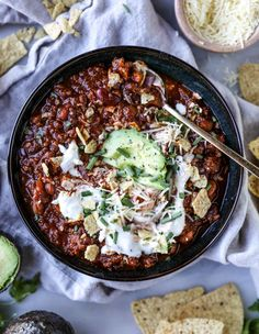 Who wants to have a cannonball competition right into this bowl of chili? It might be a bit warm but we can sit on an avocado raft and eat tortilla chips until we make our way to the edge. Korma, Biryani, Chile, Avocado, No Bean Chili, Chili Chili, Bowl Of Chili, Sausage Chili, Fire Roasted Tomatoes