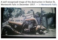 Station Street, Wentworth Falls, next to the old church, opposite the station - 1957 fires