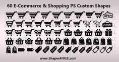Free Shapes:  60 Shopping/E-Commerce Photoshop & Vector Shapes (CSH)