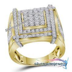 Diamond 925 Silver Men's Hip-Hop Wedding Pinky Ring 14K Yellow Gold (1.71 ctw) #Silvergemsjewery #MensWeddingBandRing