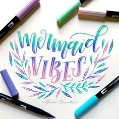 Mermaid vibes for #sunshineletters with @tjt.design @tiffyinspirations and @chrystalizabeth #mermaidvibes #mermaid #mermaidlettering #tombowusa #tombowdualbrushpens #alissecourter