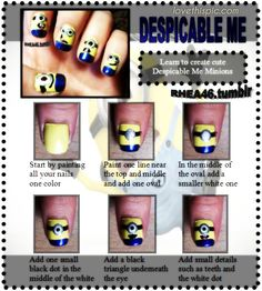 DIY Despicable Me Nails funny cute nails fun diy girlie crafts easy craft despicable me diy easy easy diy diy ideas nail art diy nail art diy fashion