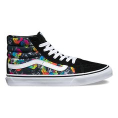 The Rainbow Floral Sk8-Hi Slim, a slimmed down version of the legendary Vans lace-up high top, features printed textile and suede uppers, padded collars for support and flexibility, and signature rubber waffle outsoles.