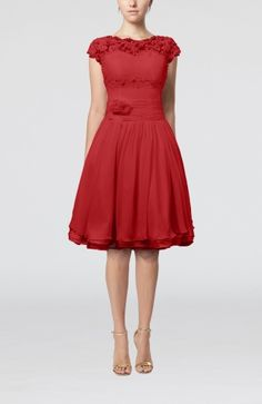 Red Cinderella Scalloped Edge Short Sleeve Chiffon Knee Length Lace Bridesmaid Dresses - iFitDress.com