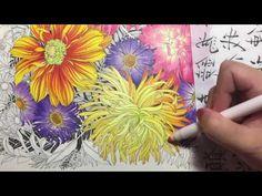 Flower Coloring Tutorial #2 | Floribunda coloring book | colored pencil - YouTube