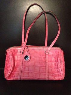 Authentic Women S Dooney And Bourke Pink Croc Handbag Ebay Crocs Crocodiles