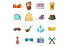 Hipster icons set, cartoon style. Clothes Icons. $5.00
