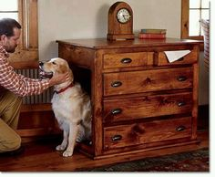 Turn that old dresser into an indoor doghouse..