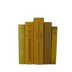 Vintage Books in Shades of Yellow Decorative Books Old Books , Yellow Wedding Decor, Book Home Decor    #VintageBooks #OldBooks #BookHomeDecor #DecorativeBooks #TableSetting #BooksForDecorating #VintagePhotoProp #WeddingTable #PhotographyProps #books
