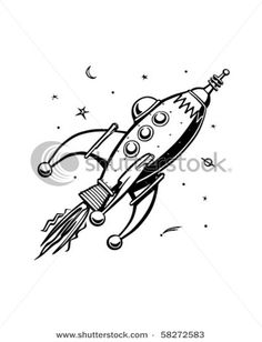 Retro Rocketship - Clip Art - stock vector