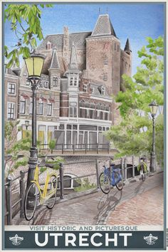 Travelposter of the city of Utrecht, the Netherlands - Stadskasteel - Utrecht, Party Vintage, Amsterdam Holland, Travel Illustration, Poster S, Old Postcards, Vintage Travel Posters, Illustrations, Day Trips
