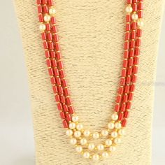 Silver bridal earrings - Long Coral Colour Beads And Pearl Necklace, indian jewellery, ethnic , south jewellery – Silver bridal earrings Silver Jewellery Indian, Bead Jewellery, Beaded Jewelry, Jewelery, Beaded Necklace, Gold Necklace, Designer Jewellery, Jewellery Shops, Beads Jewellery Designs