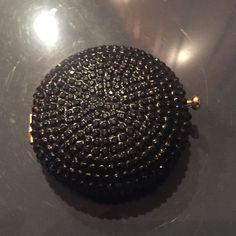 Vintage Estee Lauder Round Black Beaded Compact