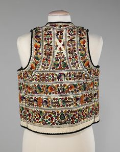 Hungary, man's waistcoat, wool embroidered leather, fourth quarter 19th century