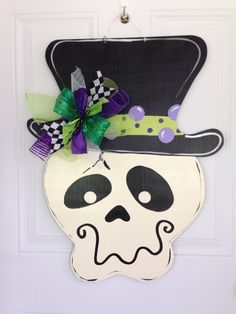 Halloween door hanger,Skeleton door hanger,Witch hat door hanger,jack o lantern door decor,candy corn bat door decor, fall wreath by Furnitureflipalabama on Etsy https://www.etsy.com/listing/202196859/halloween-door-hangerskeleton-door