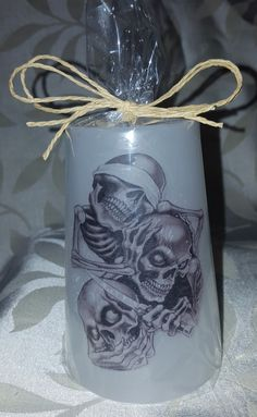 """Scented """"See no evil,  Hear no evil, Speak no evil"""" Pillar Candle/gothic/halloween/great gift/home decor    Available in these lovely fragrances:    Blueberry Muffin, The fragrance is juicy and mouth-watering, and makes an ideal present for someone who loves a fruity, warm fragrance.    The scent of lavender is known to ease tension and promote restful sleep. Our Lavender candle creates a great ambience.    Chocolate, A rich, sweet chocolate fragrance with sweet notes of vanilla and fudge…"""