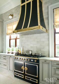 Black and Gold Kitchen Hood, Transitional, Kitchen, Atlanta Homes & Lifestyles