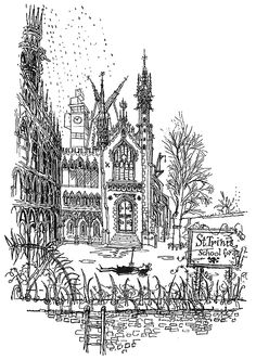 mudwerks: (via and everything else too: The Terrors of St. Trinian's) These days most people associate naughty uniformed schoolgirls with Japanese anime, but let's go back to the early where Cambridge born illustrator, Ronald Searle took a simple, St Trinians, Building Illustration, Illustration Art, Ronald Searle, Skirt Mini, English Artists, Black And White Drawing, Medieval Art, Mythology