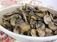 Steakhouse Sautéed Mushrooms    3 Tablespoons butter  1 pound fresh mushrooms, sliced (I used a mixture of white, baby bella and shiitake)  1 Tbsp dried minced onion  1/4 cup dry white wine  1/4 tsp salt  1/4 tsp pepper  1 clove garlic, pressed  2 tsp Worcestershire sauce    Melt butter in large skillet.  Add mushrooms and sauté for a few minutes, until mushrooms start to soften.  Stir in remaining ingredients and cook uncovered over low heat for 30 minutes or until mushrooms are tender.
