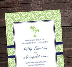 Tropical Palm Tree Party Invitations - purple instead of blue?