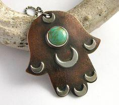 Copper, Sterling Silver Turquoise Hamsa Pendant Jewelry. $168.00